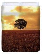 Oak Tree In A Barley Field, Ireland Duvet Cover