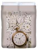 Old Pocket Watch On Dail Faces Duvet Cover