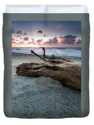 Old Tree Trunk On A Beach  Duvet Cover
