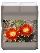 Orange Cactus Flowers Duvet Cover