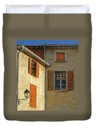 Orange Windows In Provence Duvet Cover