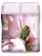 Pacific Tree Frog In A Dahlia Flower Duvet Cover by David Nunuk