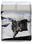 Pallets Are Released From A C-130 Duvet Cover