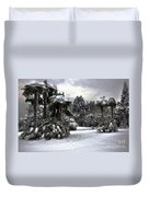 Palm Trees With Snow Duvet Cover