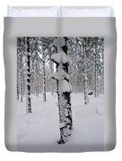 Pine Forest In January Duvet Cover