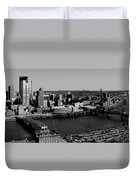 Pittsburgh In Black And White Duvet Cover