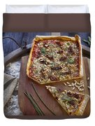 Pizza With Herbs Duvet Cover