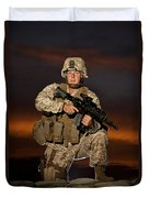 Portrait Of A U.s. Marine In Uniform Duvet Cover