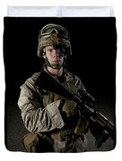 Portrait Of A U.s. Marine Wearing Night Duvet Cover