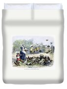Poultry Yard, 1847 Duvet Cover
