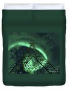Powerlines And Aurora Borealis Duvet Cover