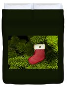 Present Sock Shape Short Bread Cookie In Christmas Tree Duvet Cover