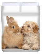 Puppy And Rabbit Duvet Cover