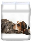 Puppy And Rabbt Duvet Cover