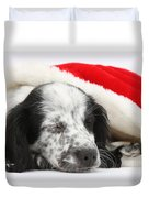 Puppy Sleeping In Christmas Hat Duvet Cover