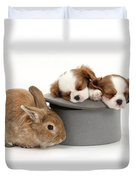 Rabbit And Spaniel Pups Duvet Cover