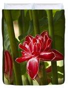Red Ginger Lily Duvet Cover