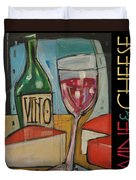 Red Wine And Cheese Poster Duvet Cover