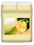 Red Yellow Rose Over A Hand Written Letter Duvet Cover