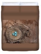 Robins Nest With Eggs Duvet Cover
