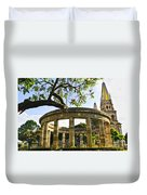 Rotunda Of Illustrious Jalisciences And Guadalajara Cathedral Duvet Cover