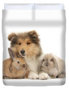 Rough Collie Pup With Two Young Rabbits Duvet Cover