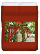 Row Of Bells In A Temple Covered By Red Umbrella Duvet Cover