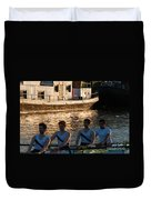 Rowers At Sunset Duvet Cover