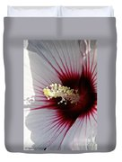 Ruby And White Hibiscus Duvet Cover