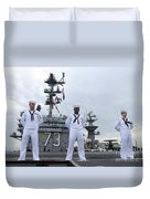 Sailors Man The Rails Aboard Duvet Cover