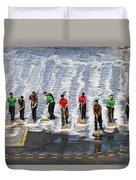 Sailors Perform A Flight Deck Wash Duvet Cover