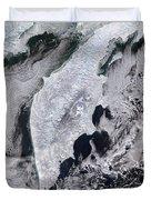 Satellite View Of Kamchatka Peninsula Duvet Cover