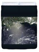 Satellite View Of Oil Leaking Duvet Cover by Stocktrek Images