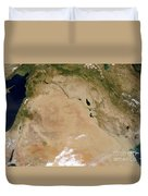 Satellite View Of The Middle East Duvet Cover