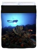 Scuba Diver Swims By Some Large Sponges Duvet Cover