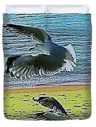 Sea Gulls In Flight  Duvet Cover