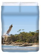 Seagull Spreads Its Wings On The Beach Duvet Cover