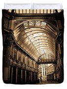 Sepia Toned Image Of Leadenhall Market London Duvet Cover