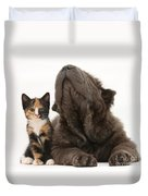 Shar Pei Puppy And Tortoiseshell Kitten Duvet Cover