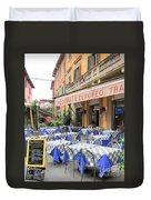 Sidewalk Cafe In Italy Duvet Cover