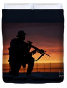 Silhouette Of A U.s Marine On A Bunker Duvet Cover