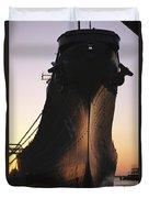 Silhouette Of The Battleship U.s.s Duvet Cover