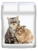 Silver Tabby Cat And Lionhead-cross Duvet Cover