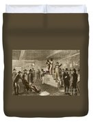 Slave Auction, 1861 Duvet Cover by Photo Researchers