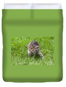Small Kitten In The Grass Duvet Cover