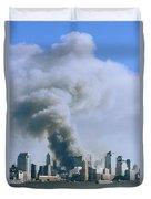 Smoke Billows Over Manhattan Duvet Cover