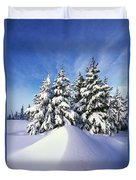 Snow-covered Pine Trees Duvet Cover