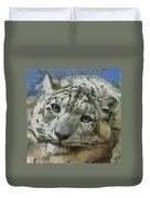 Snow Leopard Painterly Duvet Cover