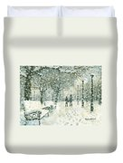 Snowing In The Park Duvet Cover
