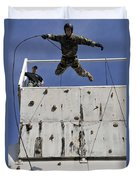 Soldier Rappels Off A Tower While Duvet Cover